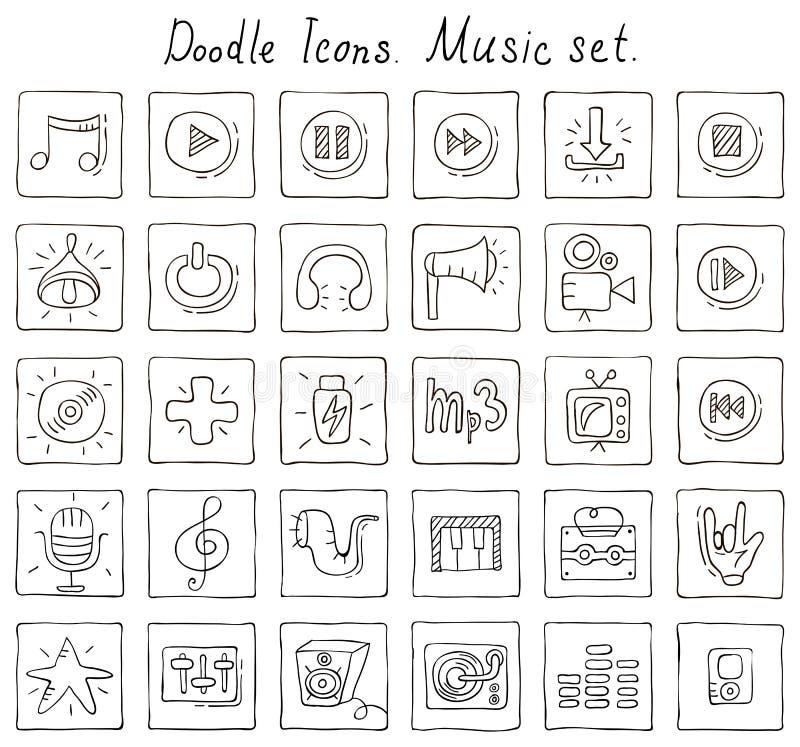 Doodle ikony. Muzyka set royalty ilustracja