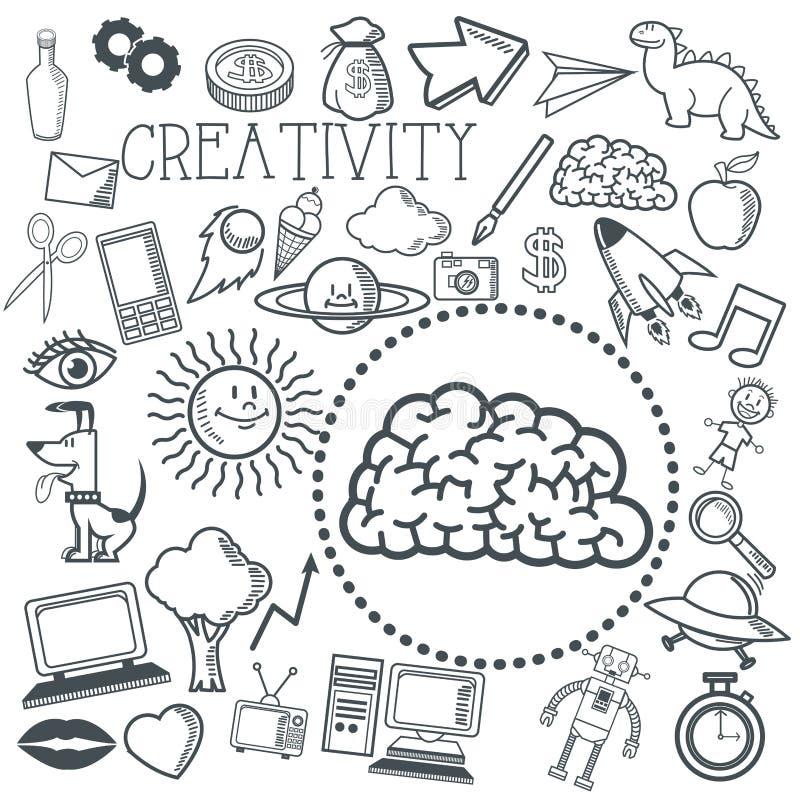 Doodle ikony projekt twórczości ikona remisu pojęcie ilustracji