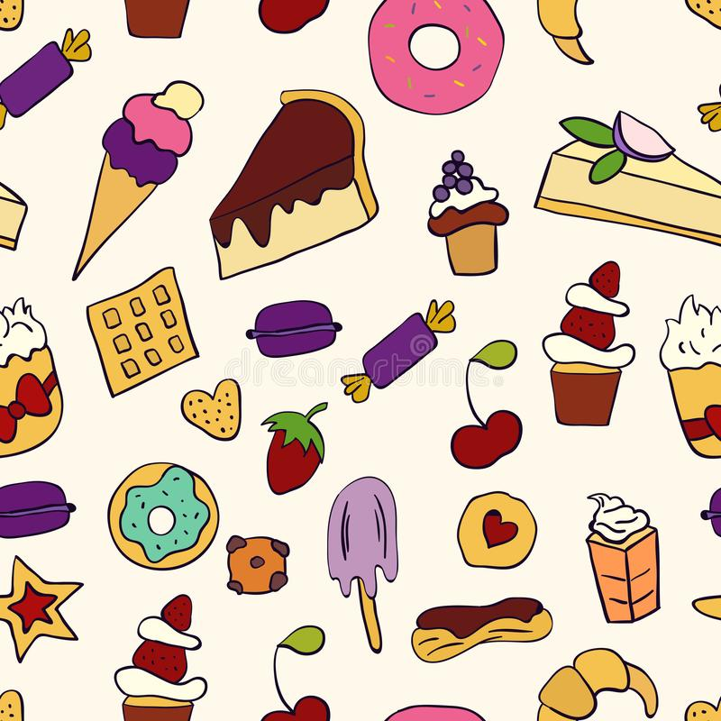 Doodle illustration of desserts and pastries. Seamless pattern with desserts. Hand drawn vector illustration made in cartoon style. Sweets and desserts vector illustration