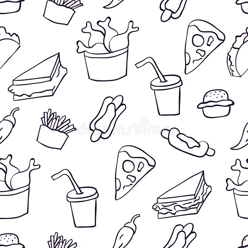 Doodle illustration of fast food. Seamless pattern with junk food. Hand drawn vector illustration made in cartoon style. Hamburger stock illustration