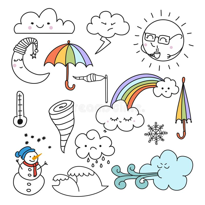 Doodle illustration of weather icons - cute decoration. stock illustration