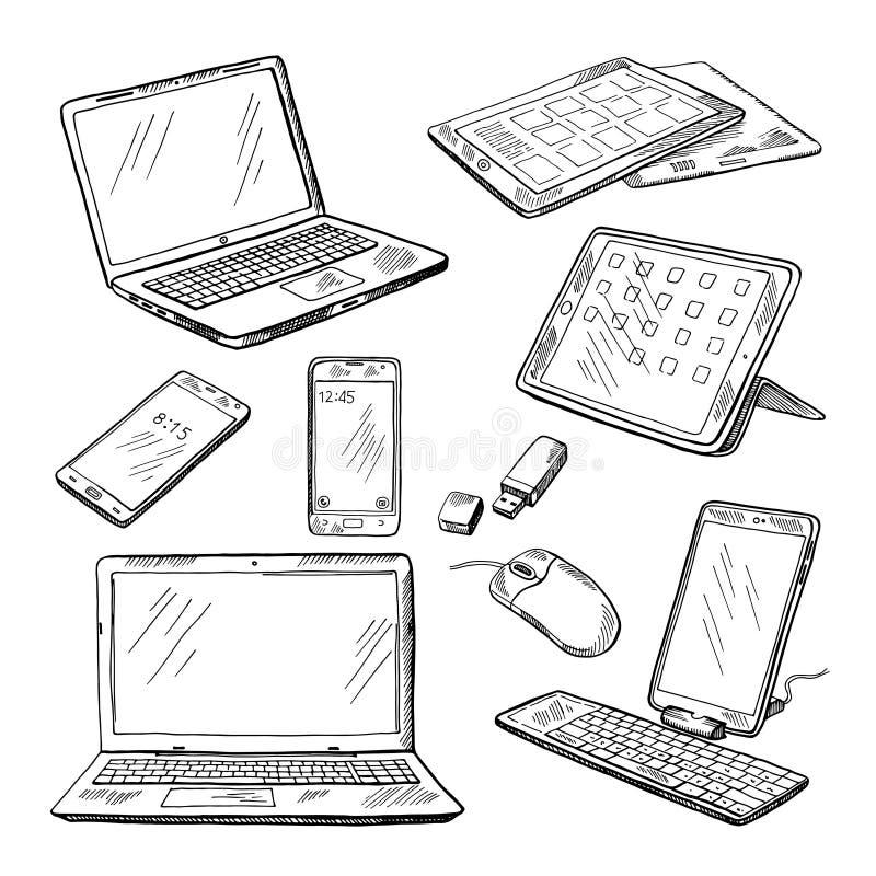 Doodle ilustracje różni przyrząda laptop, smartphone, pastylka, komputer osobisty i inny, Wektorów obrazki ustawiający royalty ilustracja