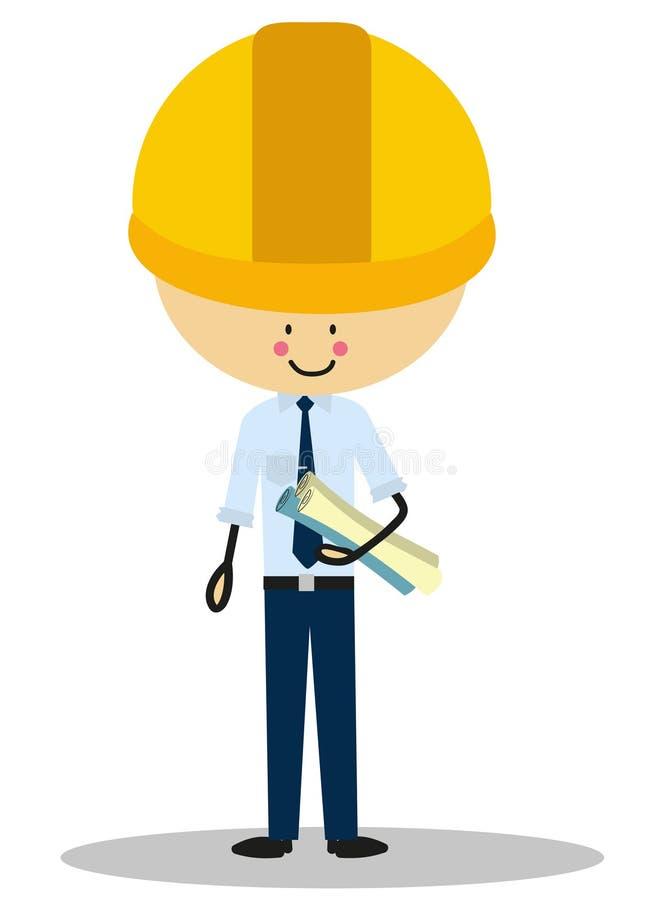 Doodle inżynier z jego kapeluszu Pełnym kolorem ilustracja wektor