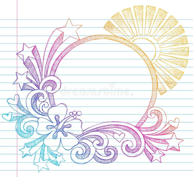 Doodle incompleto del vector de la playa del verano del hibisco ilustración del vector