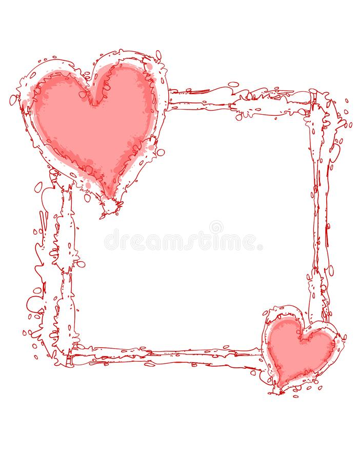 Free Stock Photo Doodle Ink Pink Hearts Frame Or Border Picture
