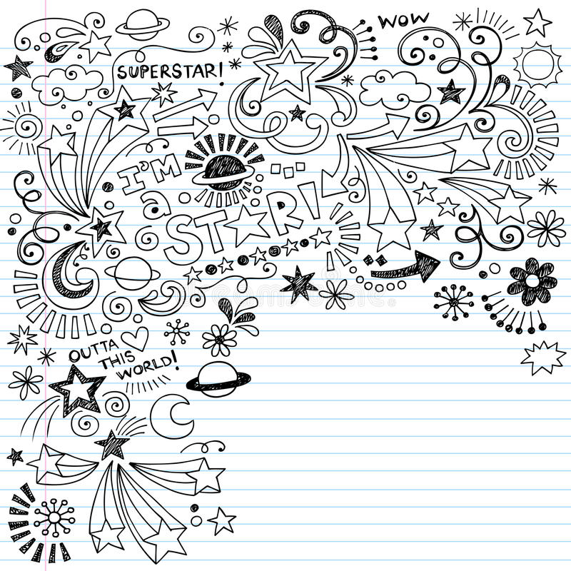 Doodle Inky do vetor da estrela mundial dos Doodles do Scribble ilustração royalty free