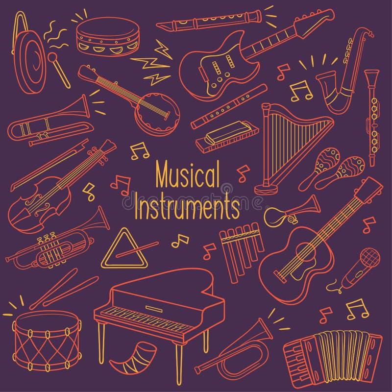 Doodle instrumenty muzyczni w neonowym kolorze royalty ilustracja