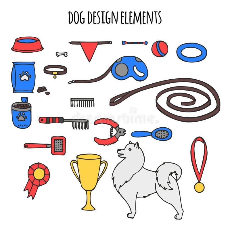 Doodle isolated set of dog items elements. Pet icons walking, feeding, grooming salon equipment. Doodle isolated set of dog items elements. Pet icons walking royalty free illustration