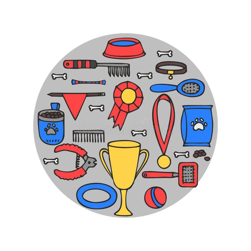 Doodle isolated set of dog items elements. Pet icons walking, feeding, grooming salon equipment. Doodle isolated set of dog items elements. Pet icons walking vector illustration