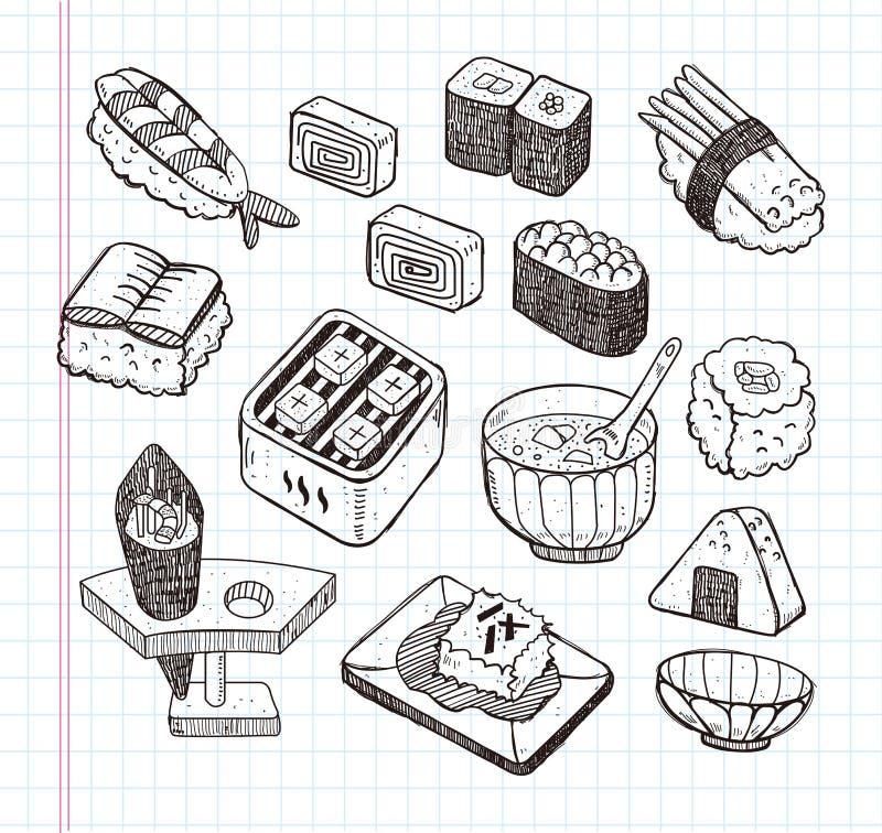 Doodle Japanese food icon set royalty free illustration