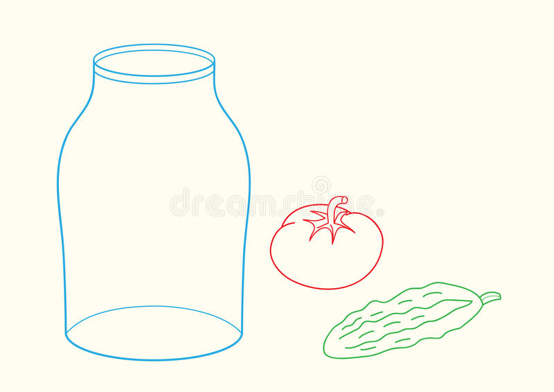 Doodle jar, cucumber and tomato