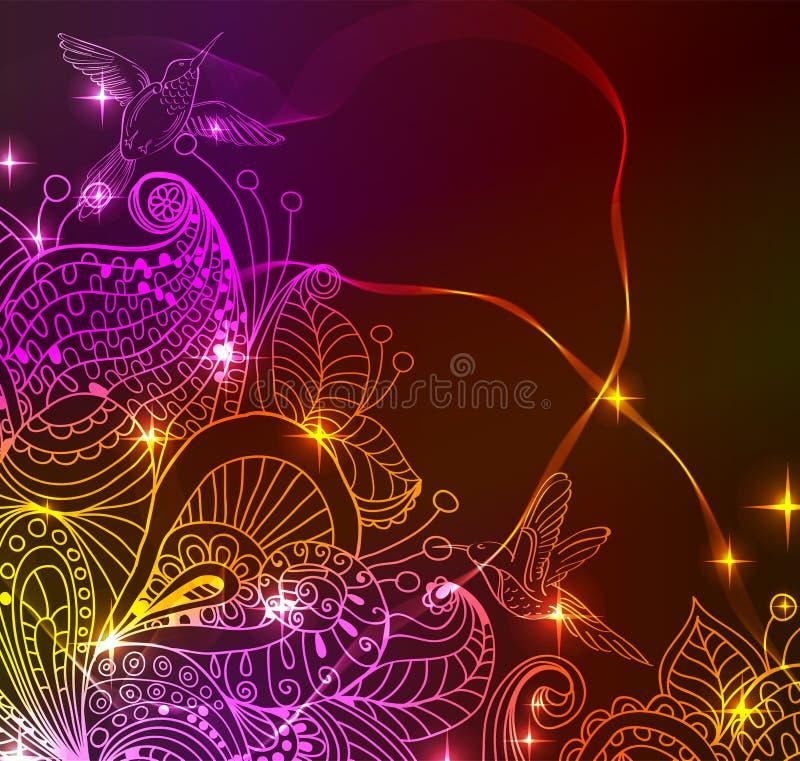 Doodle jaskrawy koloru kwiecistego tło z ptakami royalty ilustracja
