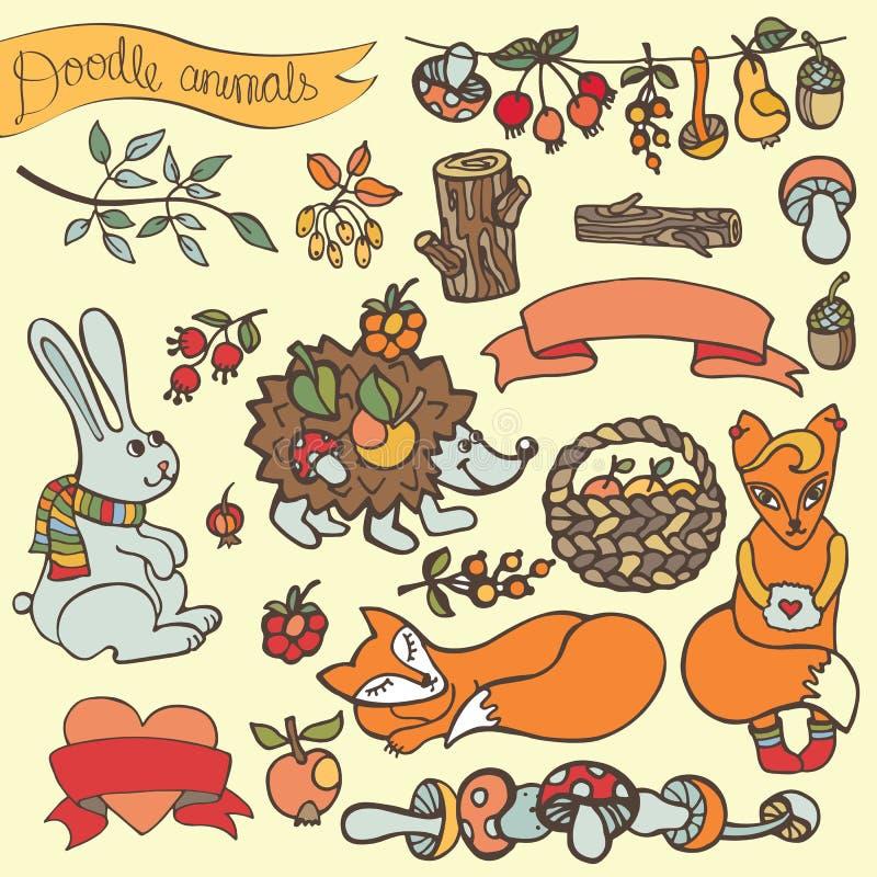 Doodle jeża, zając, lis, jagody, pieczarki, drewno, faborek ilustracji