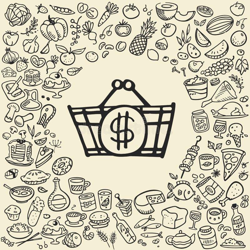 Doodle jedzenia ikony ilustracji