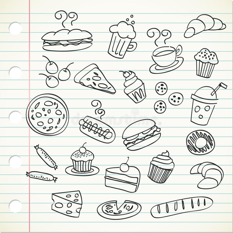 doodle jedzenie royalty ilustracja