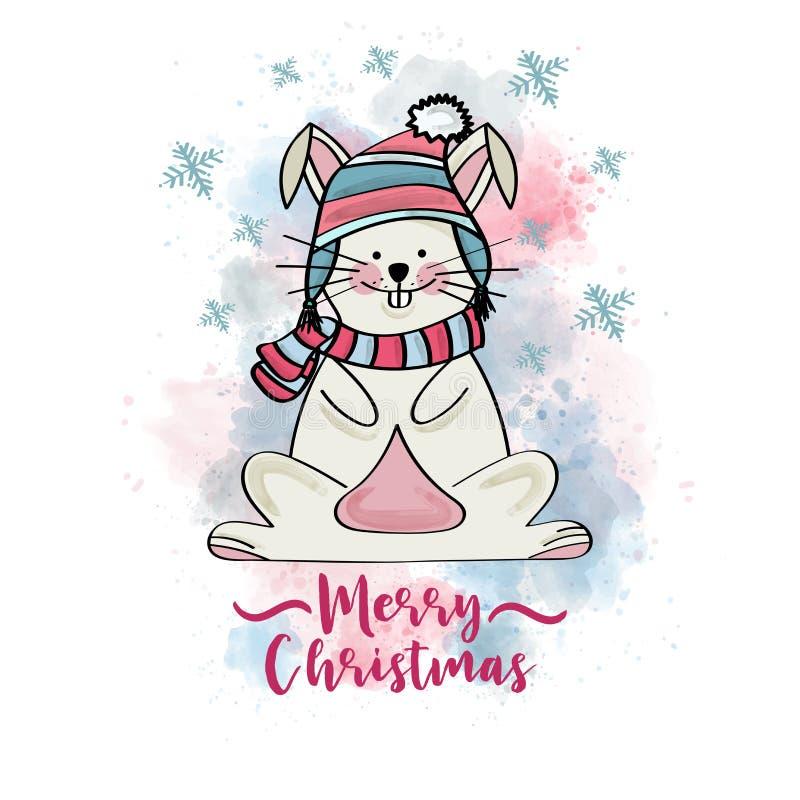 Doodle kartka bożonarodzeniowa z ubierającym królikiem ilustracja wektor