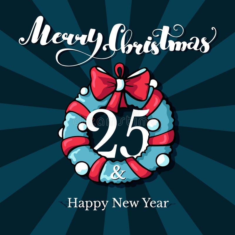Doodle kartka bożonarodzeniowa z Wesoło bożych narodzeń pisać list Ręka rysująca wektor karta z hristmas wiankiem na zielonym tle ilustracja wektor