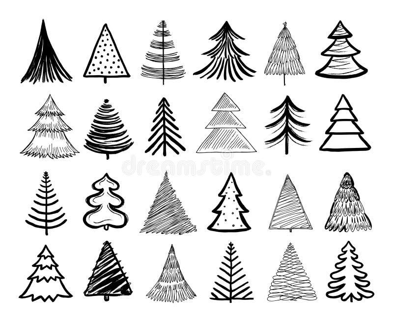 Doodle kerstboom Wintervakantiehandgetrokken elementen Retro xmas bomen en gelukkige nieuwe jaarschets grafische vector vector illustratie