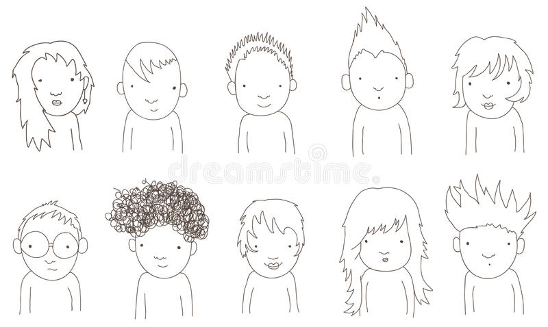 Download Doodle kids stock vector. Image of curly, long, punk - 25347562