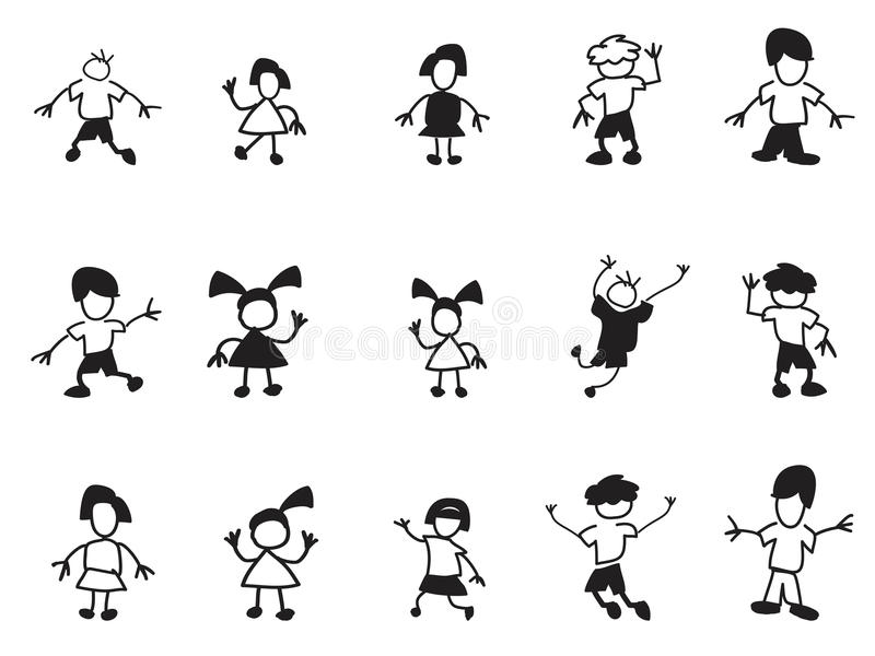 Doodle kids icons stock illustration
