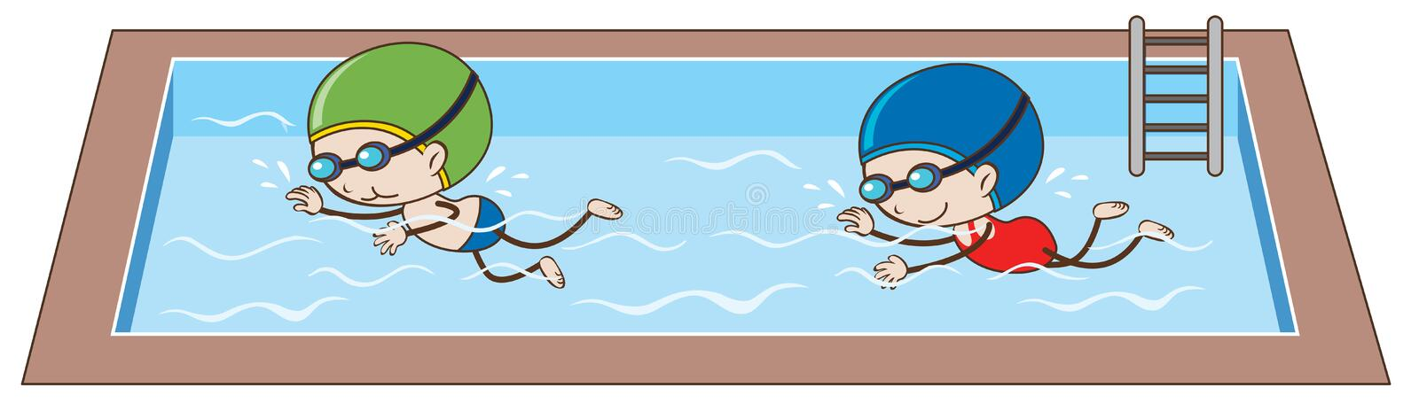 Doodle kids Swimming in the Pool. Illustration stock illustration