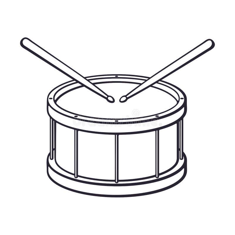 Doodle klasyczny drewniany bęben z drumsticks ilustracji