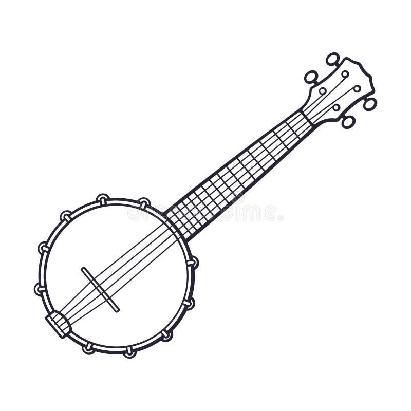 Doodle klasyczny muzyka country bandżo ilustracji