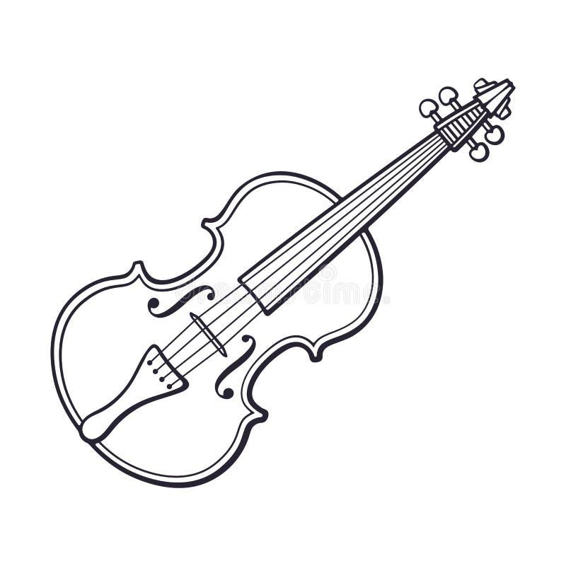 Doodle klasyczny skrzypce bez łęku ilustracji
