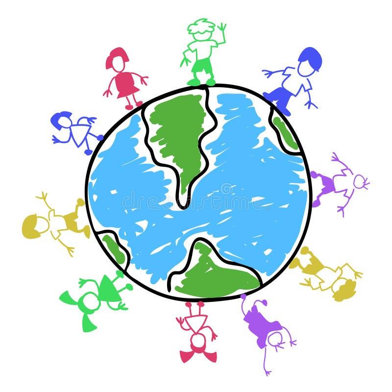 Doodle koloru dzieciaki dookoła świata royalty ilustracja