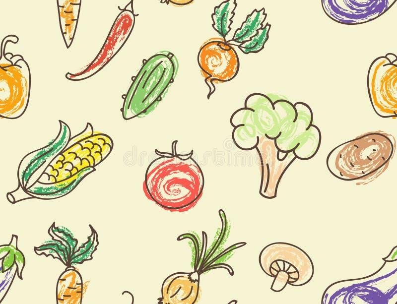 Doodle koloru warzyw bezszwowy wzór ilustracja wektor