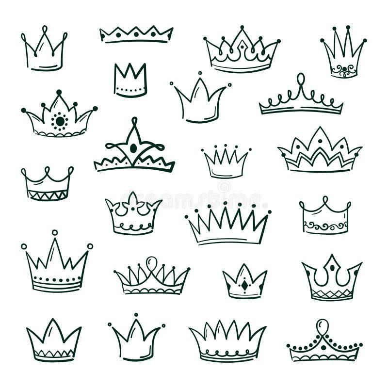 Doodle korony Kre?li korony kr?lowej kr?lewi?tka coronet grunge atramentu miastow? sztuk? koronuje rocznika zrogowacia?e ikony ma ilustracja wektor