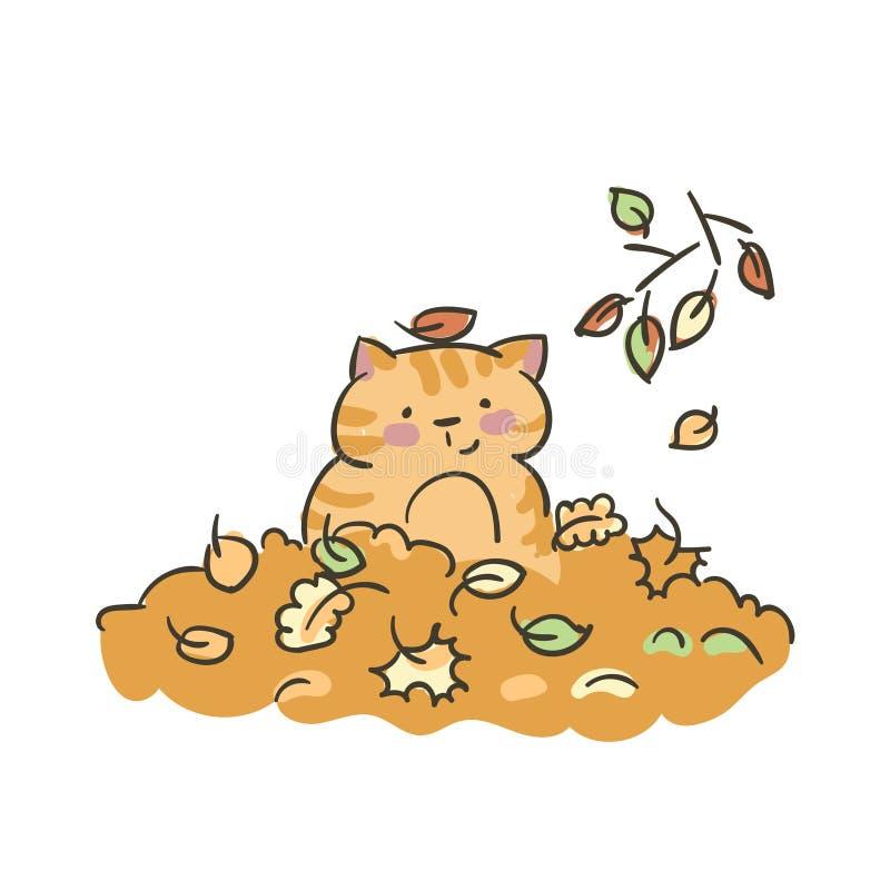 Doodle kota śliczny mały wektor opuszcza jesień royalty ilustracja