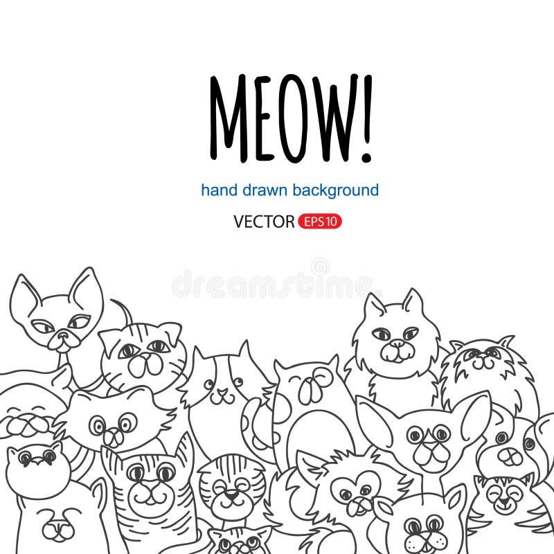 Doodle kota tło royalty ilustracja