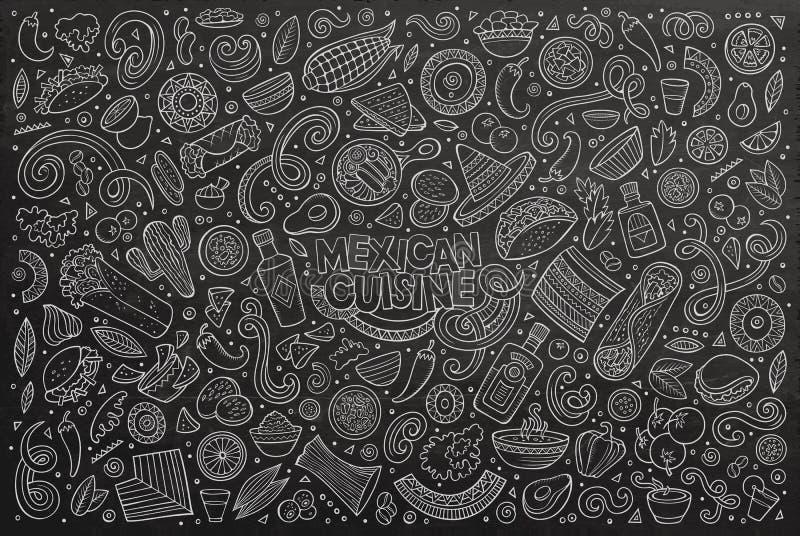 Doodle kreskówka ustawiająca Meksykańscy Karmowi przedmioty ilustracji