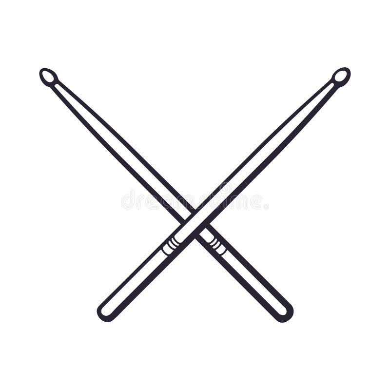 Doodle krzyżujący drumsticks ilustracja wektor