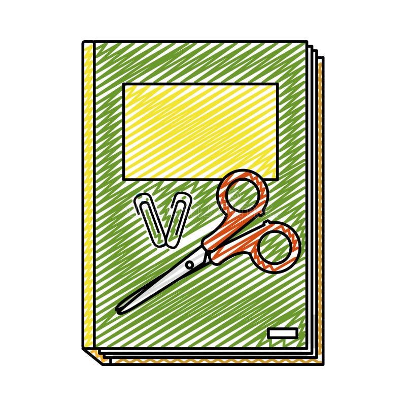 Doodle książkę z klamerkami i nożyce szkoły narzędziami royalty ilustracja