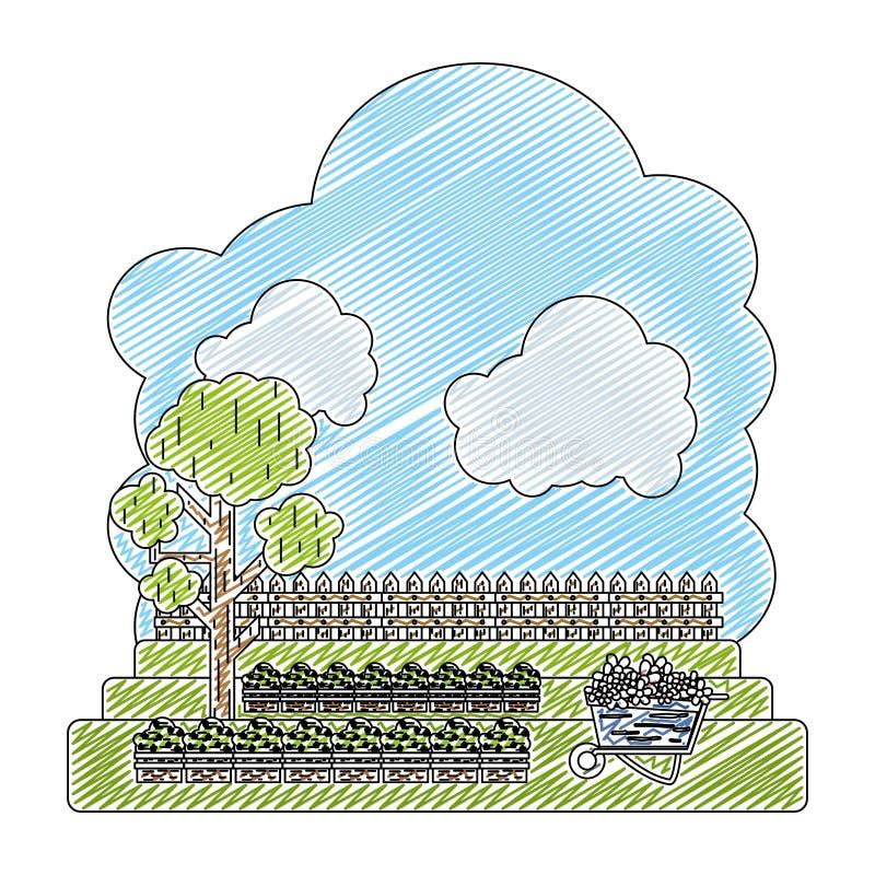 Doodle kultywujący z drzewnym i drewnianym grillage gospodarstwem rolnym ilustracja wektor