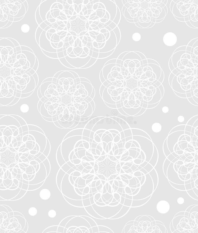 Doodle kwiatu motyw, niski kontrastujący biały rysunek na świetle - szary tło, bezszwowi wzory, tekstylny sampler, tkanina ilustracja wektor