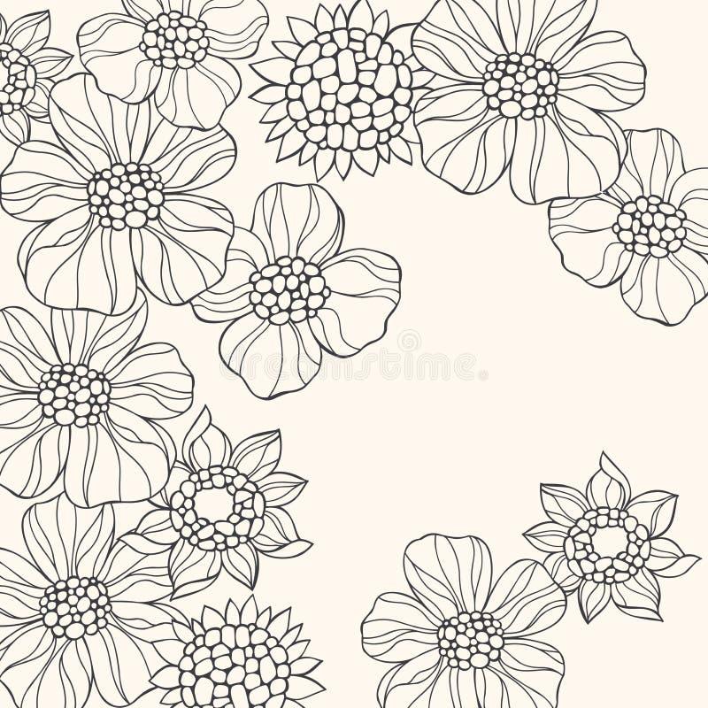 doodle kwiaty zarysowywający wektor
