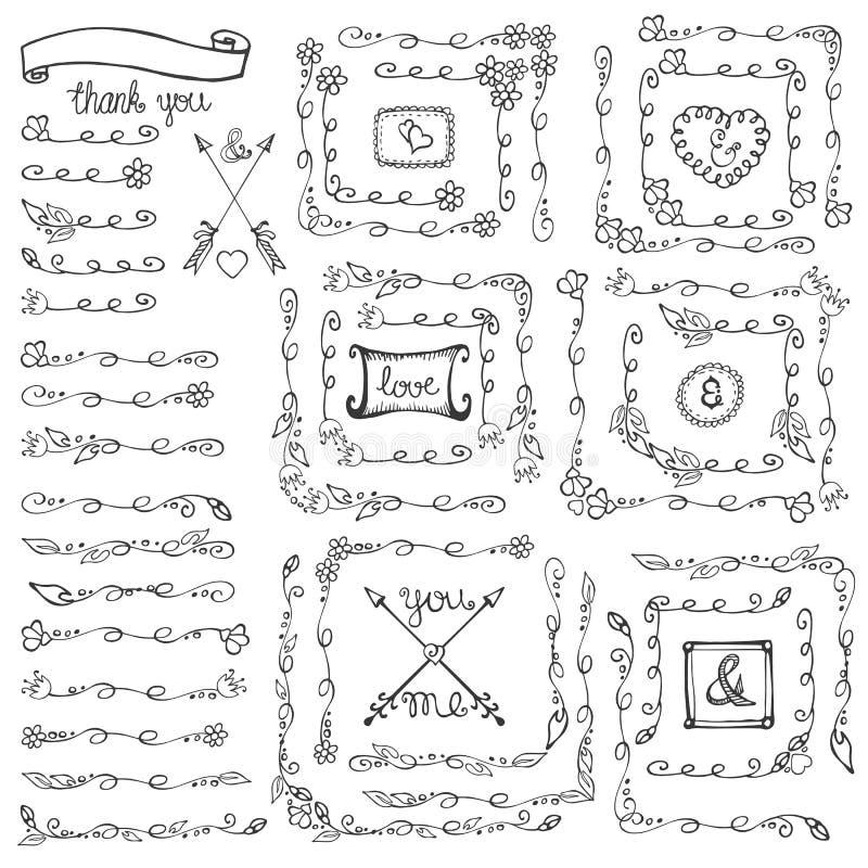 Doodle kwieciste kreskowe granicy, kąty, ramy rocznika set ilustracji