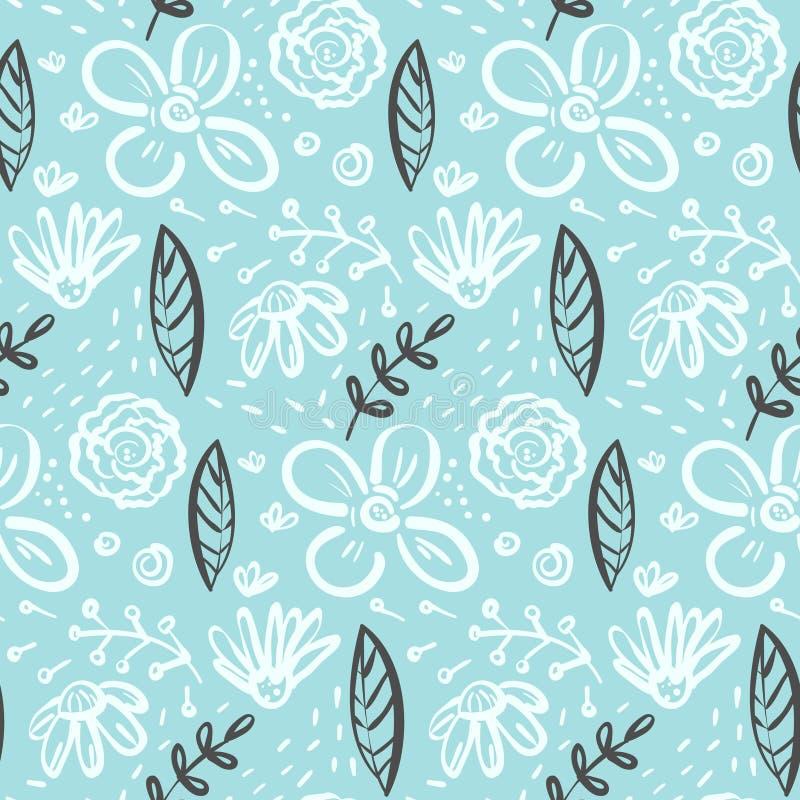 Doodle kwiecisty wzór z kwiatami i liśćmi ilustracja wektor