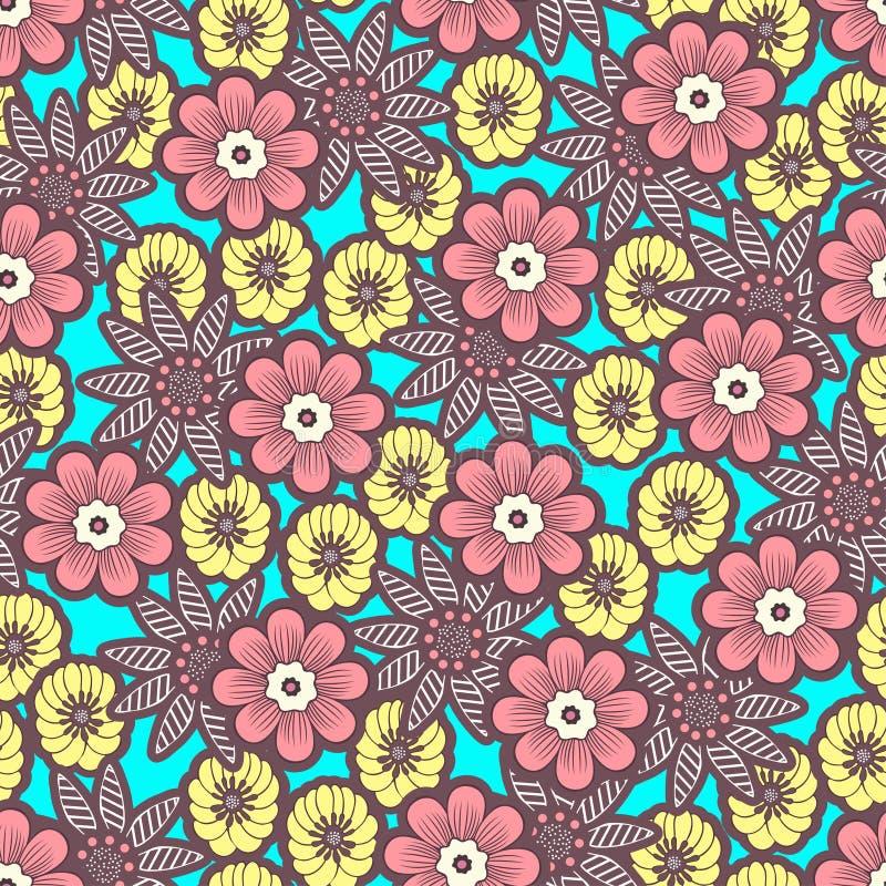 Doodle kwitnie bezszwowego wzór, kolorowy jaskrawy kwiecisty tło Kolor żółty, różowy kwiatu pączek na błękitnym tle, ręka rysunek ilustracja wektor