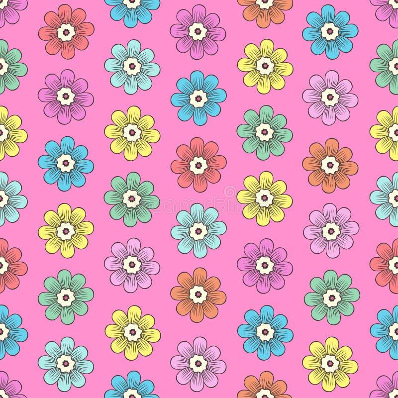 Doodle kwitnie bezszwowego wz?r, kolorowy kwiecisty t?o Stubarwny jaskrawy prosty pączek z płatkiem na różowym tle, ręka royalty ilustracja
