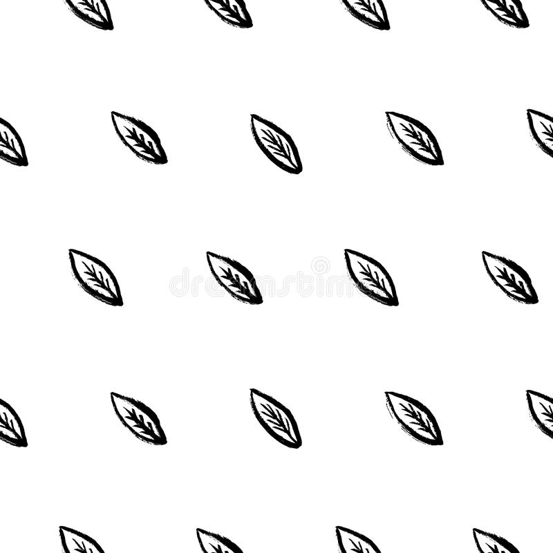 Doodle leafs bezszwowy deseniowy wektor royalty ilustracja