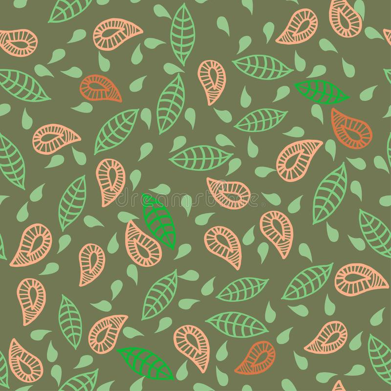 Doodle leafs, plats, flowers seamless green pattern. stock illustration