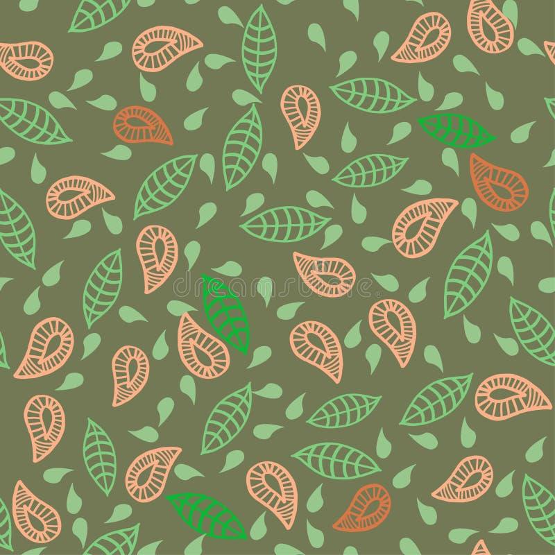 Doodle liście, plats, kwitnie, bezszwowego zieleń wzór ilustracji