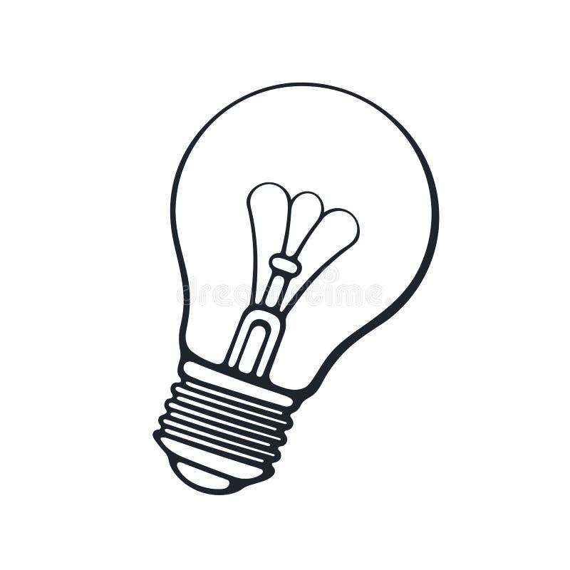 cartoon light bulb with contour stock vector