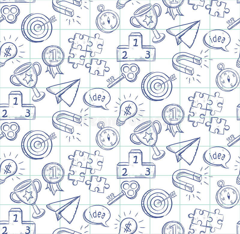 Doodle line drawing seamless pattern - vector eps8 vector illustration