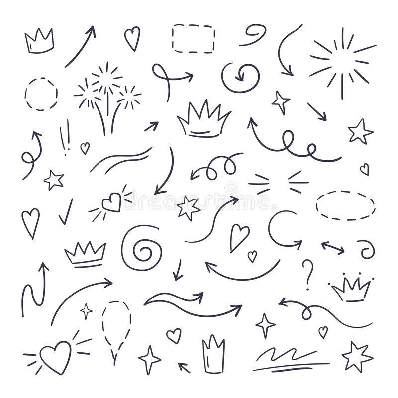Doodle line swash. Emphasis text highlighters, hand drawn brush stroke, calligraphy underline. Vector hand drawn royalty free illustration