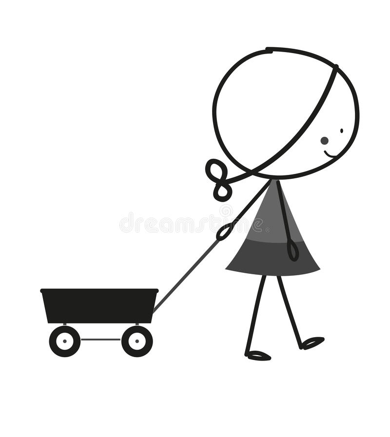 Black White An D Tractor Pulling Wagon : Doodle little girl pull cart stock vector illustration